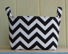 Fabric Storage Bin Organizer Chevron Black White Zig by lucky17, $20.00