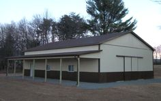 Dimensions: 40' W x 60' L x 16' H (ID# 126) 40' Standard Trusses, 4' on Center, 4/12 Pitch  Colors: Two-Tone-Siding: Upper Color: Beige Lower Color: Brown Roofing Color: Brown Trim Color: Brown  For More Information: http://pioneerpolebuildings.com/portfolio/project/40-w-x-60-h-x-16-h-id-126-total-cost-34527  Or Call: 1-888-448-2505  Pioneer Pole Buildings, Inc. 716 South Route 183 Schuylkill Haven, PA. 17972