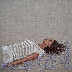 "Preparing for Flight - 9"" square on linen #embroidery #embroideryart #contemporaryembroidery #bordado #broderie"