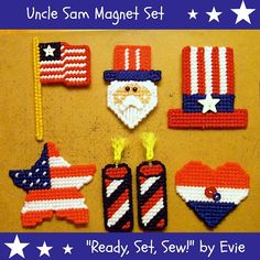 RESERVED for K!!! Plastic Canvas Uncle Sam Magnet Set, ReadySetSewbyEvie, $10.50 -- You're a good man, Uncle Sam (and you make a good magnet, too)!