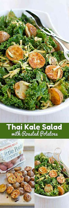 Healthy Recipes : Illustration Description Thai Roasted Potato Kale Salad…Fantastic flavor in this healthy salad, which is tossed with a light peanut dressing. 136 calories and 3 Weight Watchers Freestyle SP -Read More – Healthy Dishes, Healthy Salad Recipes, Kale Recipes, Ww Recipes, Veggie Dishes, Healthy Meals, Kale Salad, Soup And Salad, Clean Eating Recipes