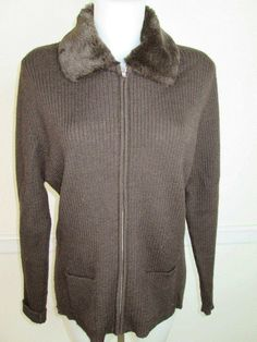 WILLI SMITH COLLECTIONS 100% Wool Brown Sweater Jacket with Faux Fur Collar XL #WilliSmith #FullZip