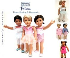 Prima Dance Sewing Pattern by DollhouseDesigns, $6.95  Create your own Mix & Match Ballet, Gymnastic, Jazz, Ice Skating or other Performance outfits for American Girl Dolls. 5 Pieces with lots of options for your own unique look :)