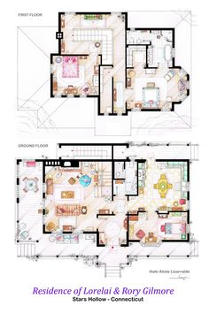 House Of Lorelai And Rory Gilmore - Poster With The Two Floorplans