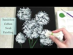 Check out my New Video: Dandelion Cotton Swab Canvas Painting Supplies: Acrylic White and Green Paint Paint Brush Sponge Black Ca.