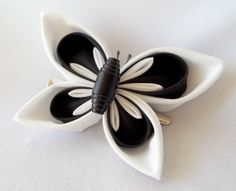 Kanzashi Butterfly Fascinator Black and White