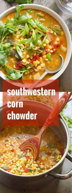 Sweet summer corn and poblano peppers are simmered up with Tex-Mex spiced and a touch of creamy coconut milk to make this cozy southwestern corn chowder.