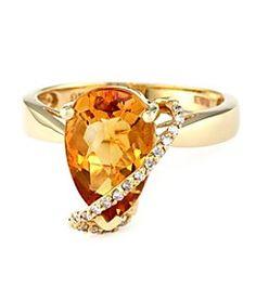 Effy® Citrine and Diamond Ring in 14K Yellow Gold