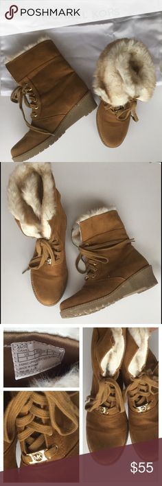 Michael Kors Furry Camel Booties Super cute Michael Kors Furry Booties! You can wear the booties with ankle parts fold over or up. Come with dust bag. In great condition! Michael Kors Shoes Ankle Boots & Booties