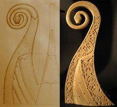 Free-hand sketch, not an exact copy of the Oseberg ship shape, I just made it like I wanted it to be. Paper to wood Viking Life, Viking Art, Viking Ornament, Up Helly Aa, Viking Longship, Viking Designs, Viking Culture, Norse Vikings, Viking Ship