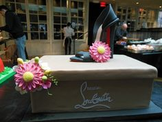 Louboutin shoe & shoe box cake. The shoe and flowers are edible, hand-sculpted from fondant. #louboutin #cake