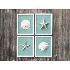 LARGE Beach Wall Art 8 3/4 x 10 3/4 Inch Cottage Chic Set of Beach... ($95) ❤ liked on Polyvore featuring home and home decor