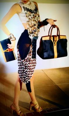 Yves Saint Laurent Cabas Chic in navy blue and beige trim. Beautiful!
