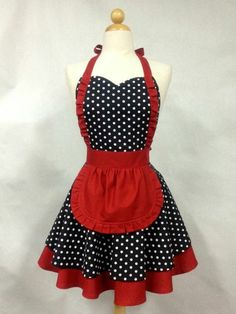 Apron French Maid Polka Dot with Red Double Circle Skirt image 0 Vintage Pirate Tattoo, Cute Aprons, Sewing Aprons, Apron Designs, Aprons Vintage, Vintage Sewing, Kitchen Aprons, Creation Couture, Diy Clothes
