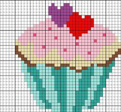Patrones de cupcakes en punto de cruz | Manualidades