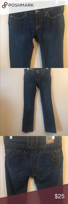 Lucky Brand Jeans Lucky Brand Jeans  Dark wash  Size 4  Waist- 27in  Inseam- 32.5in  Back of the leg at the bottom worn from wear. (Pictured) Lucky Brand Jeans Straight Leg
