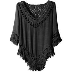 Womens Lightweight Loose Fit 3/4 Sleeve Crochet Tunic Top ($24) ❤ liked on Polyvore