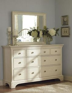 Simple dresser top accessories - +Master Bedroom - Ashby Park Dresser With 7 Drawers and Beveled Vertical Mirror by American Drew - Hudson's Furniture - Dresser & Mirror Tampa, St Petersburg, Orlando, Ormond Beach Bedroom Dressers, Bedroom Wardrobe, Bedroom Furniture, Master Bedroom, Mirror Bedroom, White Dressers, Diy Dressers, Bedroom Chest, Refurbished Furniture