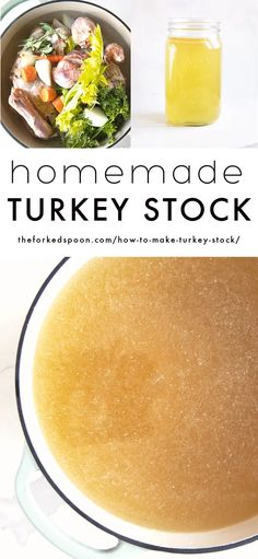 Learn How to Make Turkey Stock using the leftover bones, carcass, neck, and giblets from your Thanksgiving turkey. Use it to make nourishing soups and stews or freeze it for later. Side Dish Recipes, Healthy Dinner Recipes, One Pot Meals, Easy Meals, How To Make Turkey, Turkey Stock, Cooking Turkey, Roasted Turkey, Thanksgiving Turkey