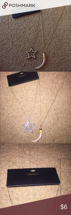 """BUNDLE OF NECKLACES Star brand new from forever 21!!!!! """"Tooth"""" one from Rue 21 not brand new. Forever 21 Jewelry Necklaces"""