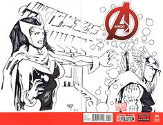 Avengers Blank Cover - Scarlet Witch & Thor by Guillomcool