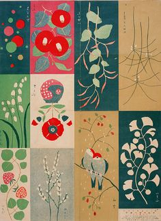 Vintage Japanese woodblock pattern design. 1916
