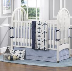 Project Nursery - Nautical Baby Bedding by Liz and Roo