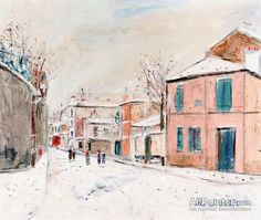 Maurice Utrillo Rue De L'abreuvoir In The Snow At Montmartre oil painting reproductions for sale