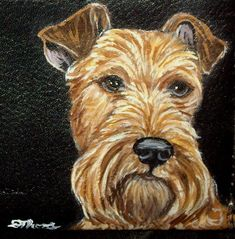Irish Terrier Dog Custom Painted Leather by daniellesoriginals