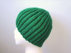 SALE Bright Green Beanie Ribbed Hat Men Teens & Boys Hand Knit Wool Acrylic Toque (20.00 USD) by Girlpower