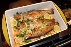 baked trout with coconut oil, lime, and herbs Primal Recipes, Greek Recipes, Healthy Recipes, Paleo Food, Healthy Foods, Baked Trout, Baked Fish, Oven Baked, Trout Recipes