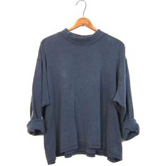 Slouchy faded black boxy shirt oversized mock neck long sleeve boho... ($27) ❤ liked on Polyvore featuring tops, t-shirts, loose t shirt, cotton t shirt, vintage shirts, loose long sleeve shirts and oversized t shirt