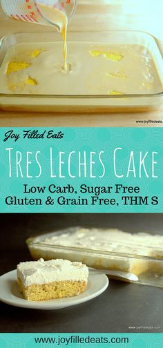 The first time I tried Tres Leches Cake at a Cuban restaurant I fell in love. A sponge cake soaked with sweetened milk and topped with whipped cream? It sounded like a dream to me and it tasted like one too.  This is low carb, sugar free, gluten free, grain free, THM S.