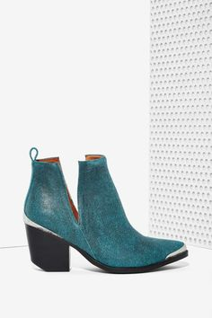 Jeffrey Campbell Cromwell Suede Bootie - Teal | Shop Shoes at Nasty Gal