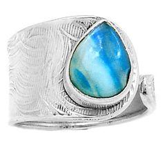 Peruvian-Blue-Opal-925-Sterling-Silver-Ring-Jewelry-s-8-5-SR139882
