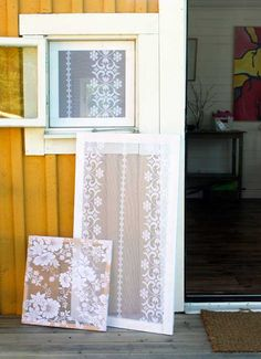 Love this, putting the lace on a screen door that I plan to use as a pantry doors, Queenie