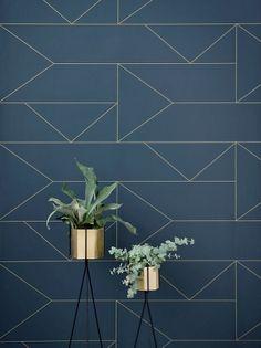 Lines Wallpaper - Dark Blue   Ferm Living