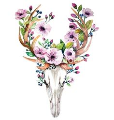 Bright watercolor deer skull with flowers vector