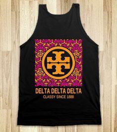 Alpha Chi Omega Tory Tank (dark) except KD Kappa Delta Sorority, Zeta Tau Alpha, Pi Beta Phi, Alpha Chi Omega, Gamma Phi, Delta Zeta, Phi Mu, Sorority Life, Tri Delta