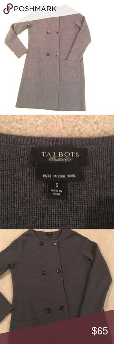 "Talbots's Sweater Coat  Pure Merino Wool Talbots's Sweater Jacket pair with sweater Sheath Dress for a great work look or a pair of leggings and boots for a weekend outfit.   Size Small gently Loved   Front pockets with double button closure 36"" from collar to hem. Talbots Jackets & Coats"