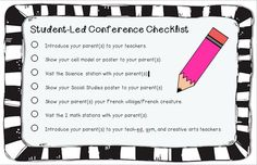 "Student Led Conference form (with parent evaluation form as well) Definitely makes conferences more ""friendly""! Meet The Teacher, Your Teacher, Teacher Blogs, Teacher Hacks, Teaching Math, Teaching Resources, Kindergarten Checklist, Student Led Conferences, Science Stations"