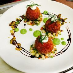 Beet & goat cheese arancini white bean salad sweet pea purée lemon sour cream d. Gourmet Recipes, Appetizer Recipes, Cooking Recipes, Salad Recipes, Gourmet Food Plating, Food Plating Techniques, Beet And Goat Cheese, Arancini, Food Decoration