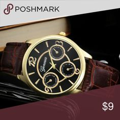 """Geneva Watch Faux Leather Band Gold Plated Faux Leather 2.5"""" Diameter Glass Face Adjustable Fashion Jewelry Accessories Watches"""