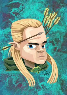 Orlando Bloom in the role of Legolas - caricature by Ribosio #thelordoftherings