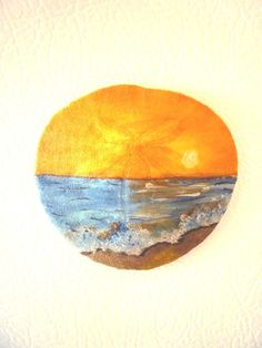 Sea Scape Sunset  Hand Painted Sand Dollar Magnet / by TaMuidBeo, $7.00
