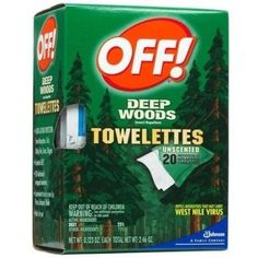 cool Off! Deep Woods Insect Repellent Wipes, 20 Towelettes - For Sale Check more at http://shipperscentral.com/wp/product/off-deep-woods-insect-repellent-wipes-20-towelettes-for-sale/