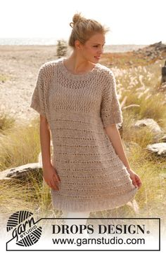 "Knitted DROPS tunic in ""Alpaca Bouclé."" Size: S - XXXL. ~ DROPS Design"