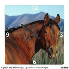 Majestic Bay Horse Graphic Square Wallclock