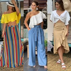 Plus Size Beach Outfits, Casual Wear, Casual Outfits, Western Tops, Teen Fashion, Womens Fashion, Vacation Dresses, Skirt Outfits, Summer Looks