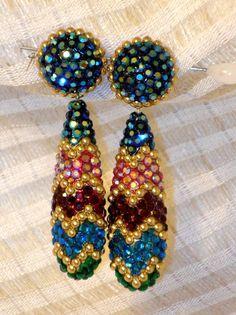 Richard Kerr Earrings  Dangle multi-color Holidays Valentines Parties  BLING!!!! #RichardKerr #DropDangleclipearrings